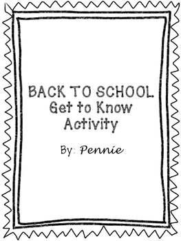 Back to School Getting to Know Activity