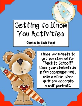 "Back to School ""Getting to Know You"" Activities"