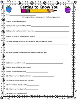 Back to School: Getting to Know You Questionnaire