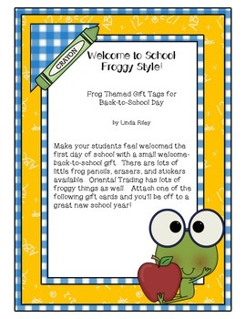 Back to School Gift Cards Froggy Style