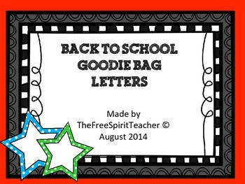Back to School Goodie Bag Printable