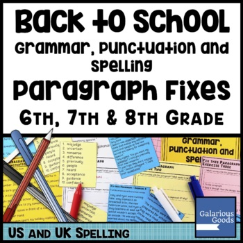 Back to School: Grammar, Punctuation and Spelling Paragraph Fixes