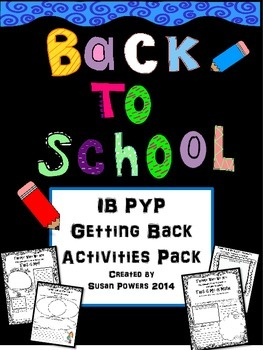 Back to School IB PYP Poster Activities- Focus on Theme, C