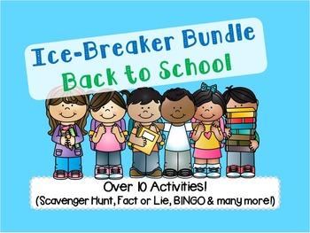 Back to School Ice Breaker Pack (Scavenger Hunt, Bingo, Fa