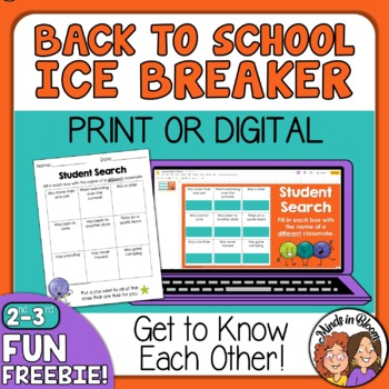 Back to School Ice Breaker: Student Search for grades 2-3