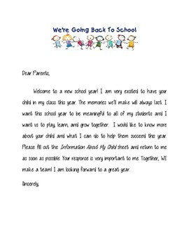 Back to School Interactive Letter to Parents