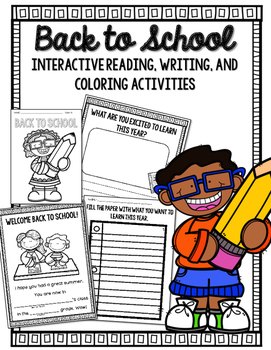 Back to School Interactive Reader, Writing and Coloring Ac