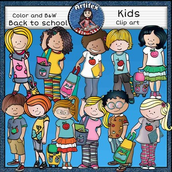 Back to School Kids Clip Art set 2