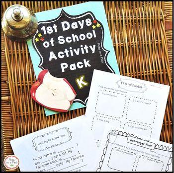 Back to School & First Day of School Activities for Kindergarten