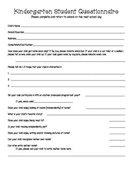 Back to School Kindergarten Student Questionnaire for Parents