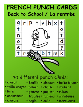 Back to School / La rentrée - FRENCH Punch Cards