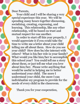 Back to School Letter About Your Child