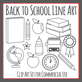 Back to School Line Art Clip Art Pack for Commercial Use