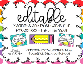 Back to School Magnets and Postcards EDITABLE