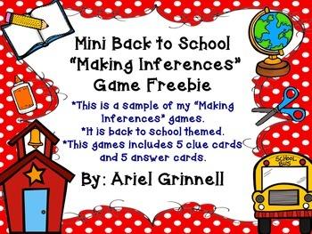"Back to School ""Making Inferences"" Mini Game Freebie"