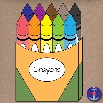 Back to School Crayons- Clip Art School Supplies- Crayola Crayons