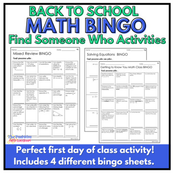 Back to School Math Activities: Find Someone Who...
