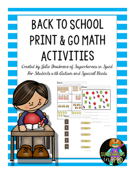 Back to School Math Activities for Students with Special Needs