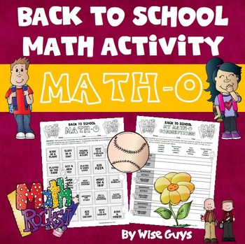 Back to School Math BINGO (MATH-O)