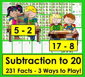 School Themed Subtraction Math Centers Activities: 3 Ways