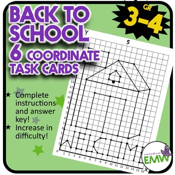 Back to School Math Coordinate Drawing Task Cards