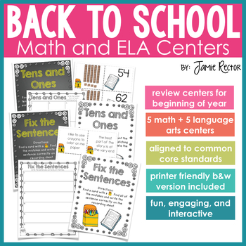 Back to School Math & ELA Centers - Aligned to Common Core