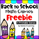 Back to School Math Free [Beginning of the Year Activities