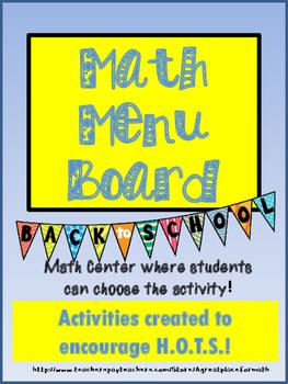Math Practices Math Menu Board Back to School