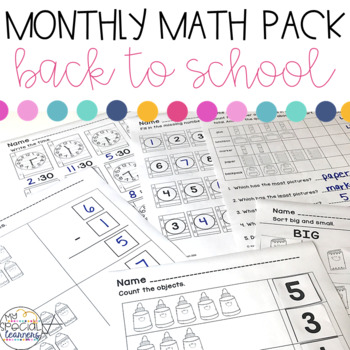 Back to School Math Printables for Special Education