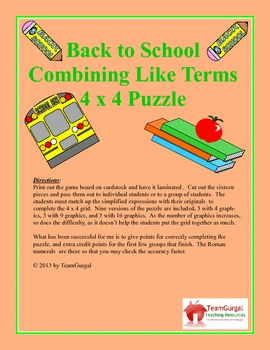 Back to School Math Puzzle - Combining Like Terms