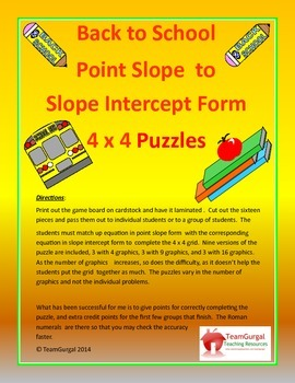 Back to School Math Puzzles - Point Slope to Slope Intercept Form