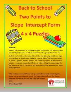 Back to School Math Puzzles - Two Points to Slope Intercept Form