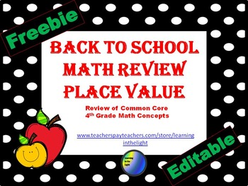 Back to School Math Review Place Value Freebie