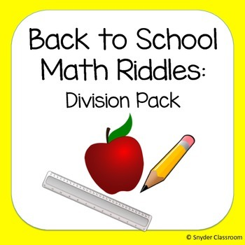 Back to School Long Division Math Riddles