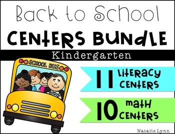Back to School Math and Literacy Centers - 21 Centers Bundled
