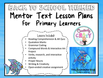 50% Off The Rainbow Fish Back to School Mentor Text Lesson Plans