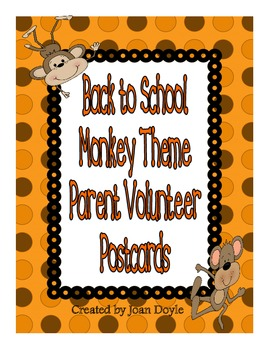 Back to School Monkey Theme Parent Volunteer Postcards