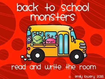 Back to School Monster Read and Write the Room