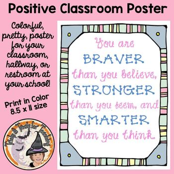 Back to School Motivational Classroom Quote Poster Braver
