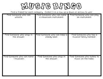 Back to School Music Bingo for 1st & 2nd Grade