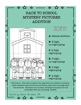 Back to School Mystery Math Pictures Addition & Subtractio