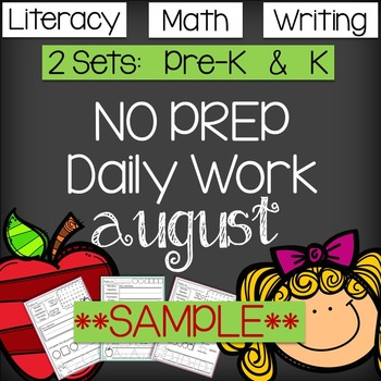 Back to School - NO PREP Daily Literacy & Math SAMPLE - CC