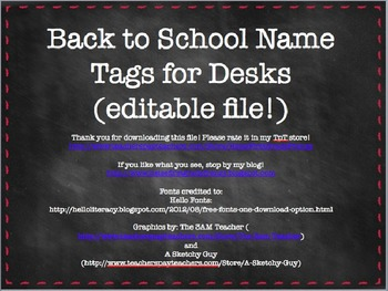 Back to School Name Tags for Desks