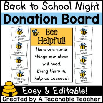 Back to School Night - Donation Board
