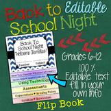 BACK TO SCHOOL NIGHT MEET THE TEACHER OPEN HOUSE: EDITABLE