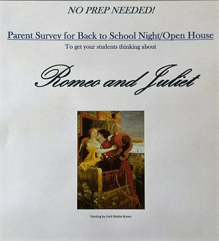 Back to School Night/Open House Activity: Parent Survey fo