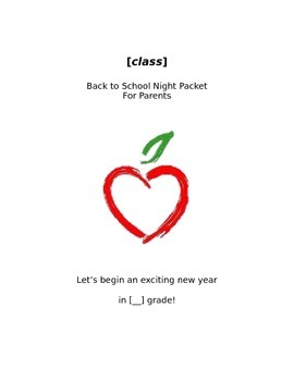 Back to School Night Packet Template