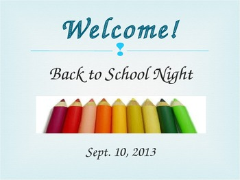 Back to School Night Powerpoint Presentation for Pre-K or