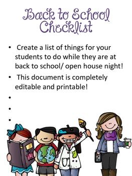 Back to School Night Student Checklist