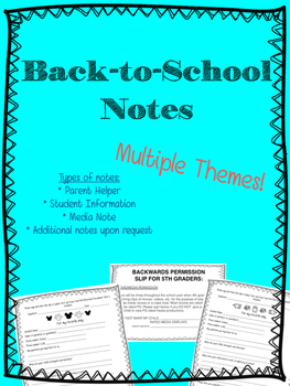 Back to School Notes